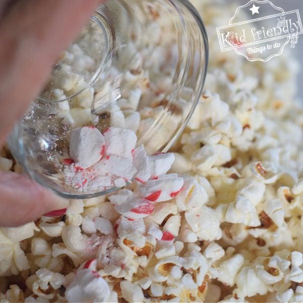 making peppermint bark popcorn