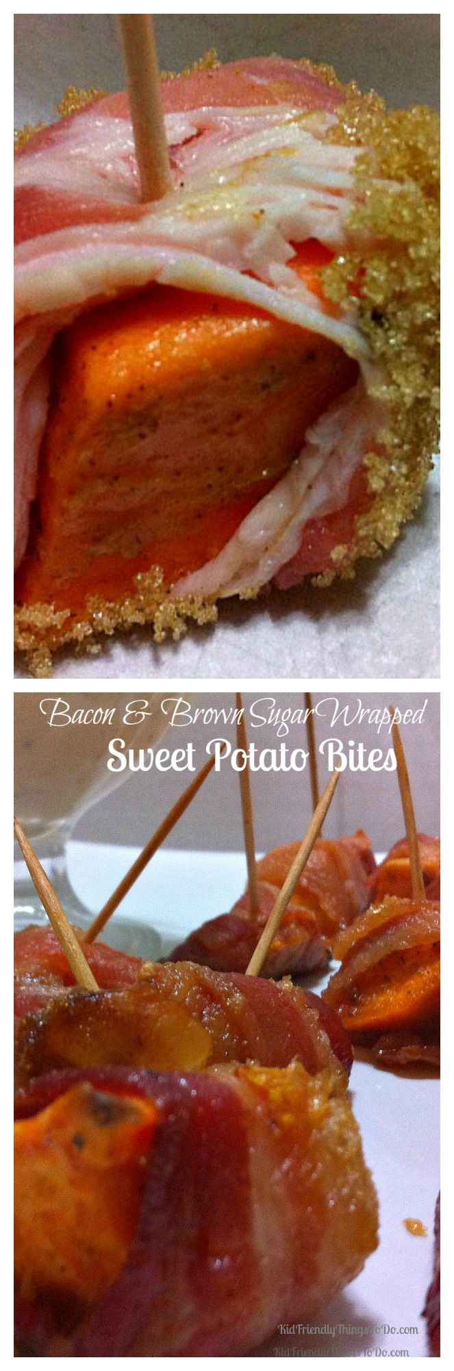 What a winning combination! Sweet Potatoes with Brown Sugar and Bacon! A perfect holiday appetizer. KidFriendlyThingsToDo.com