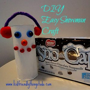 An easy snowman craft! Glue a felt bottom to the snowman, and fill with Sno-Caps for extra fun!