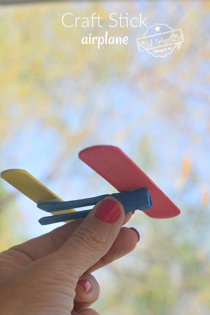 Easy Craft Stick Airplane Craft