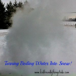 Turning boiling water into snow