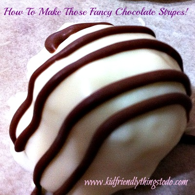 Making those beautiful chocolate stripes using a plastic baggie!