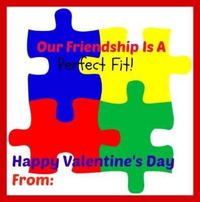 Add a little puzzle from the Dollar store! Cute non-candy Valentine's Day Idea!