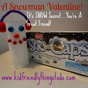 A Snowman Valentine Idea – Or Just A Snowman Craft!