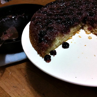 Upside Down Blueberry Skillet Cake