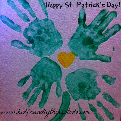 Shamrock Hand Print Idea {for St. Patrick's Day} – Kid Friendly Things To Do