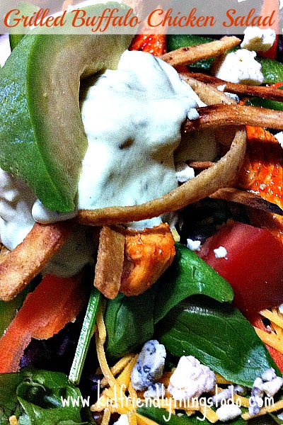 Grilled Buffalo Chicken Salad With Avocado Ranch Dressing! Oh yum!