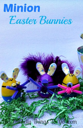 Minion Bunnies Plastic Easter Egg Craft - These Minion Bunnies are so adorable! Love these!