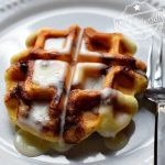 Making Shortcut Cinnabon Cinnamon Roll Waffles with Icing