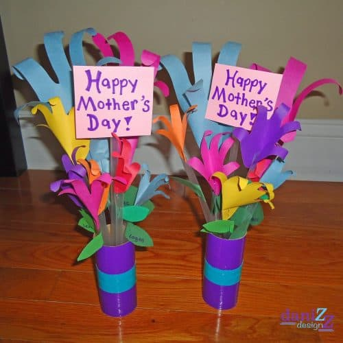hand print flower bouquet for Mother's Day