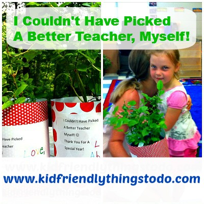 Such a sweet teacher gift! The plant says: I couldn't have PICKED a better teacher, myself!