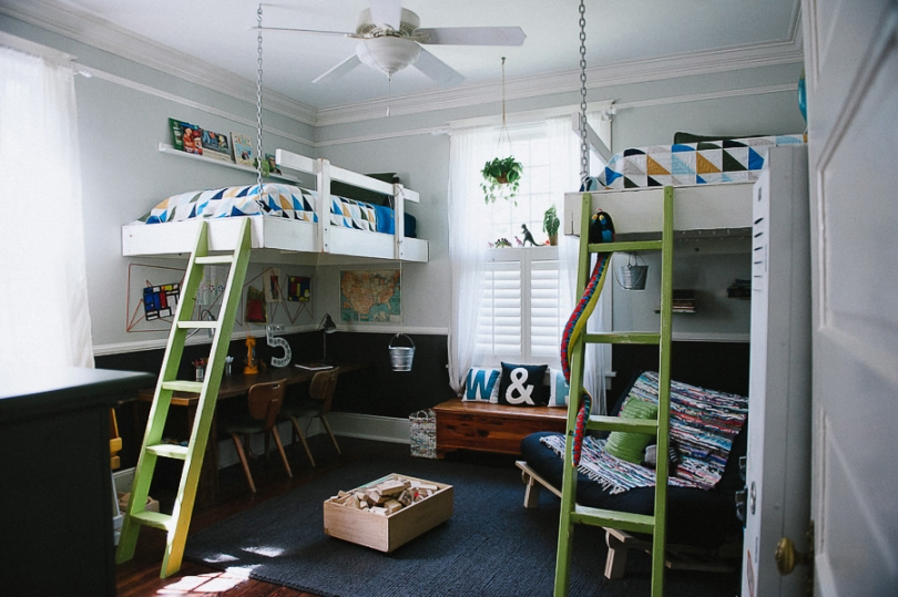 Loft beds for the boys kid friendly things to do com for Boys bedroom designs for small spaces