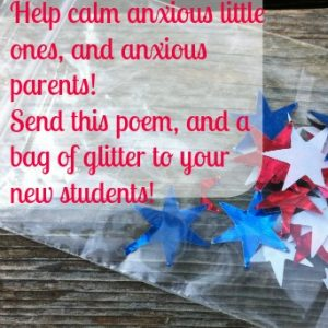 jitter glitter idea for kids on the first day of school