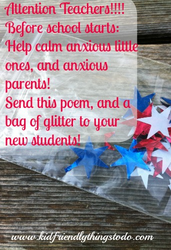 First Day of School Jitter Glitter & Poem – Kid Friendly Things To Do