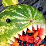 Awesome Shark Fruit Salad for a Shark Themed Party Food Idea - DIY watermelon shark idea for a fun fruit salad for kids - www.kidfriendlythingstodo.com