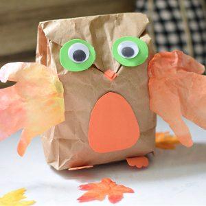 paper bag hand print owl craft