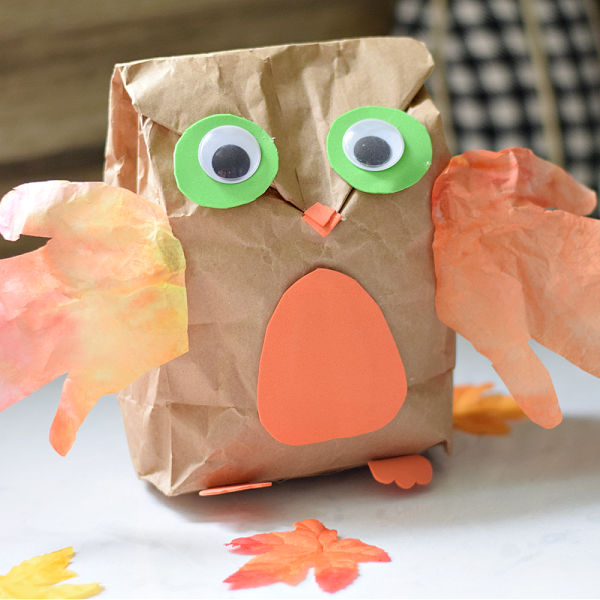 Paper Bag Owl Craft {with Hand-Print Wings} – Kid Friendly Things To Do