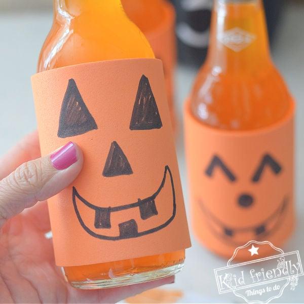 Jack-O-Lantern Orange Soda Bottle Cozies- Kid Friendly Things To Do