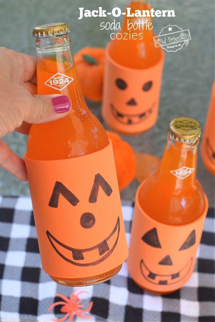 Jack-O-Lantern Orange Soda Bottle Cozies