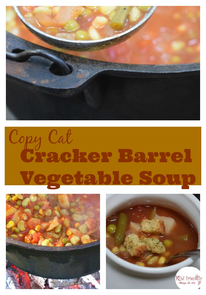 Copy Cat Cracker Barrel Vegetable Soup Recipe - Comfort Food at it's Best! Homemade, freezer ready, and Delicious! - www.kidfriendlythingstodo.com