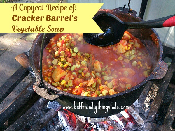 Oh yum! I love, love, love Cracker Barrel's Vegetable Soup. Perfect for campfire soups!