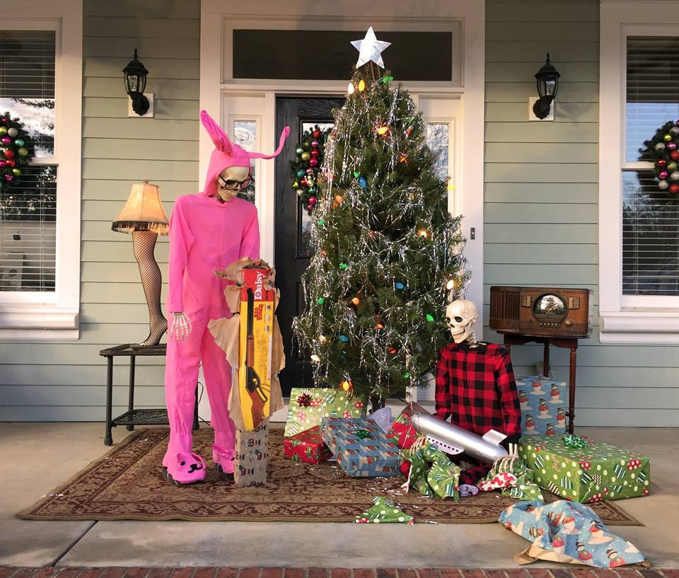 Funny Skeleton Porch Display from Christmas Story