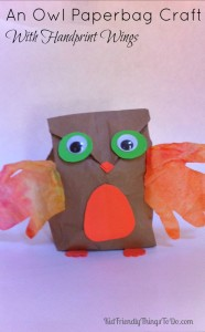 Paper Bag Owl Craft With Child Hand Print Wings – Kid Friendly Things To Do .com