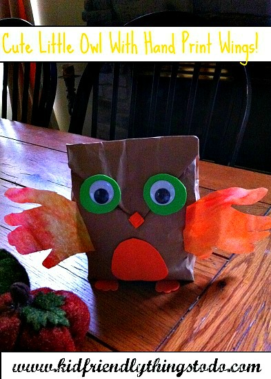 Paper Bag Owl Craft With Child Hand Print Wings - Kid Friendly Things To Do .com