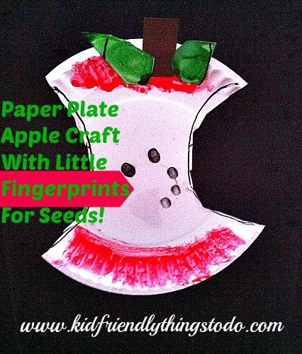 What a cute fall craft for kids! I love figerprint crafts. What a clever  sc 1 st  KidFriendlyThingsToDo & Adorable Apple Core Made From A Paper Plate and Fingerprints - Kid ...