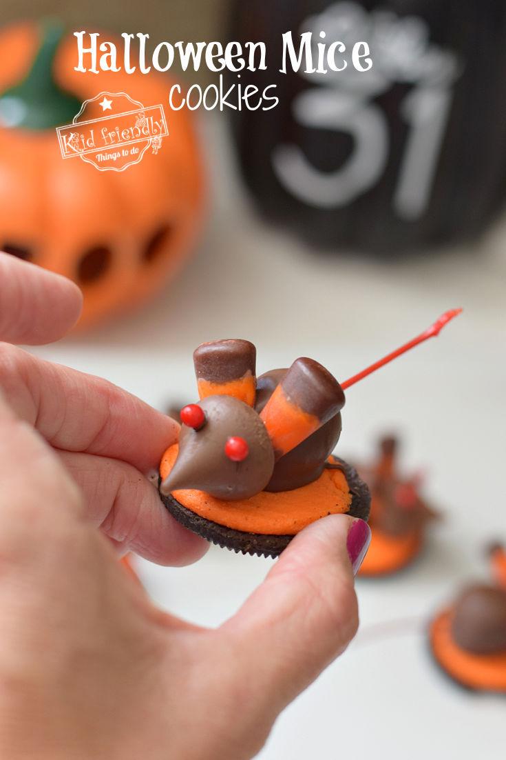 Halloween Chocolate Cherry Mice Cookies