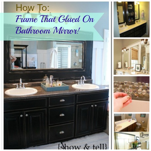 DIY Glued on Mirror Makeover   A Bathroom Renovation on a Budget   Kid  Friendly Things To Do  com   Kid Friendly Things to Do com   Family  Recipes  Crafts. DIY Glued on Mirror Makeover   A Bathroom Renovation on a Budget