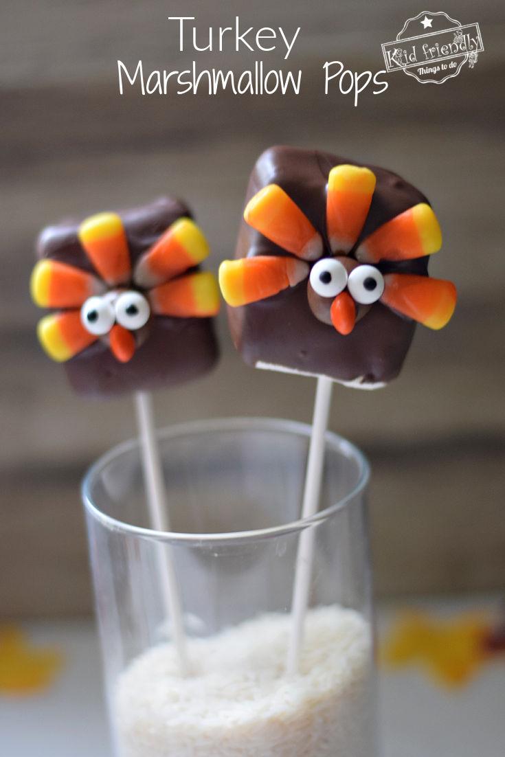 turkey marshmallow pops