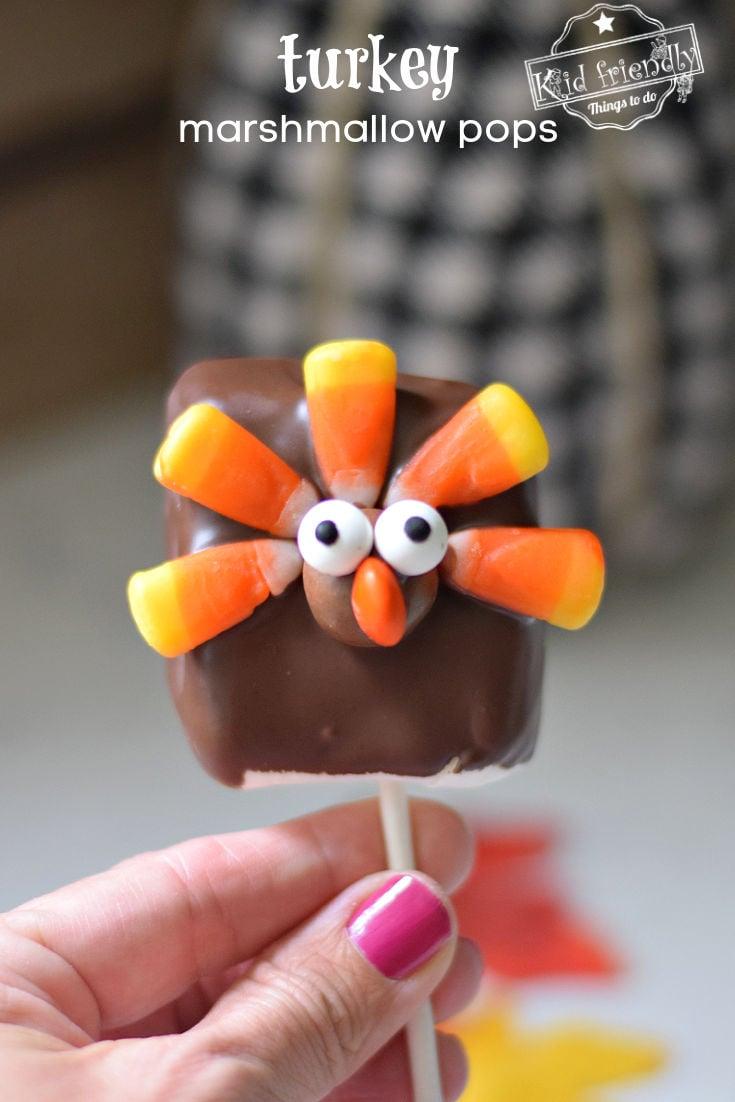 Thanksgiving treats - turkey marshmallow pops