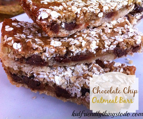Chewy Chocolate Chip Oatmeal Bars – Kid Friendly Things To Do