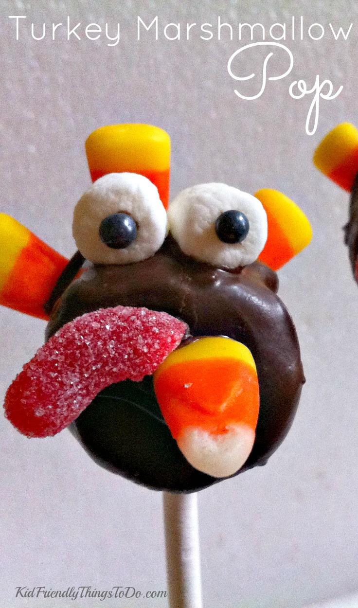Turkey Marshmallow Lollipops, a Thanksgiving Fun Food - KidFriendlyThingsToDo.com