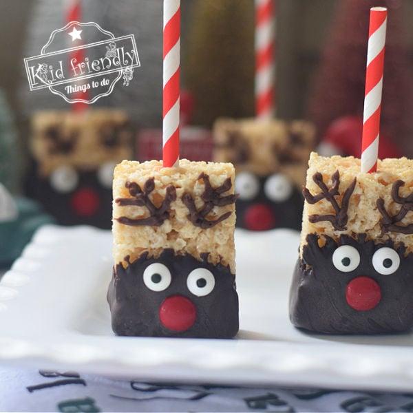 rice krispies treats Rudolph Christmas treats