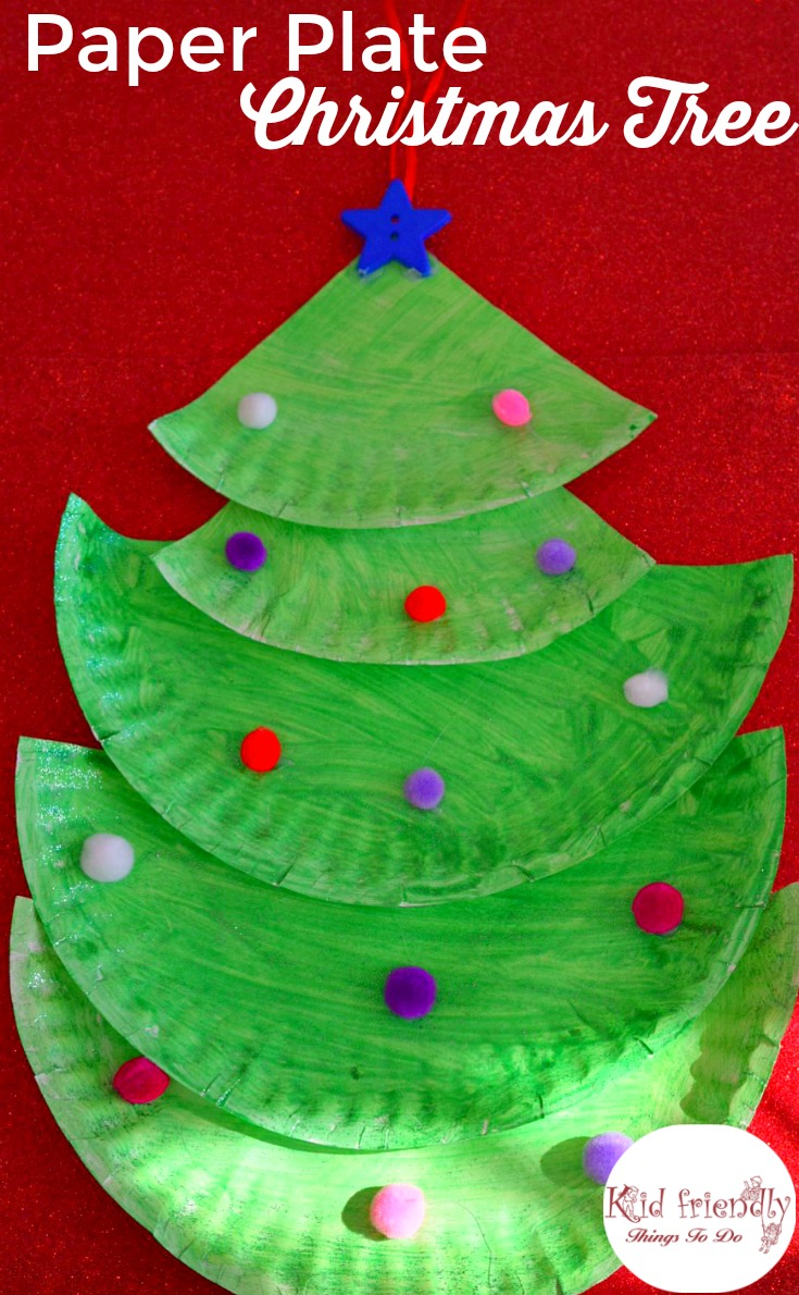 Easy to make paper plate Christmas Tree for a fun holiday decoration with kids! www.kidfriendlythingstodo.com