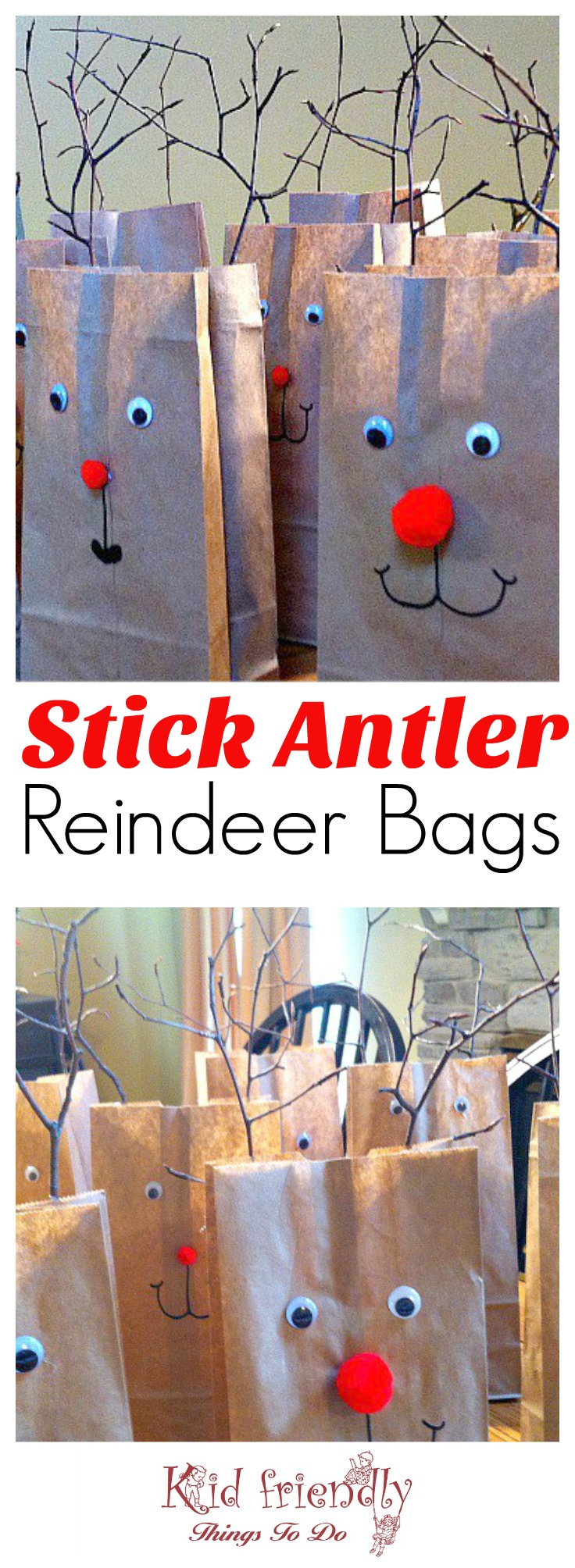 Twig Antlers Reindeer Bags for a kids Christmas party goody bag - www.kidfriendlythingstodo.com