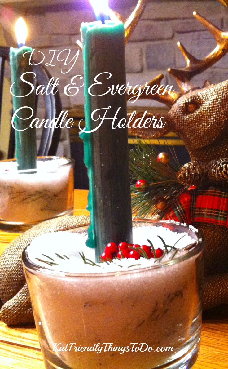 DIY Salt and Evergreen Vase for candles - KidFriendlyThingsToDo.com