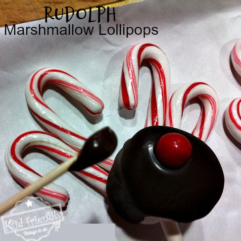 Reindeer Marshmallow Pops With Candy Cane Antlers
