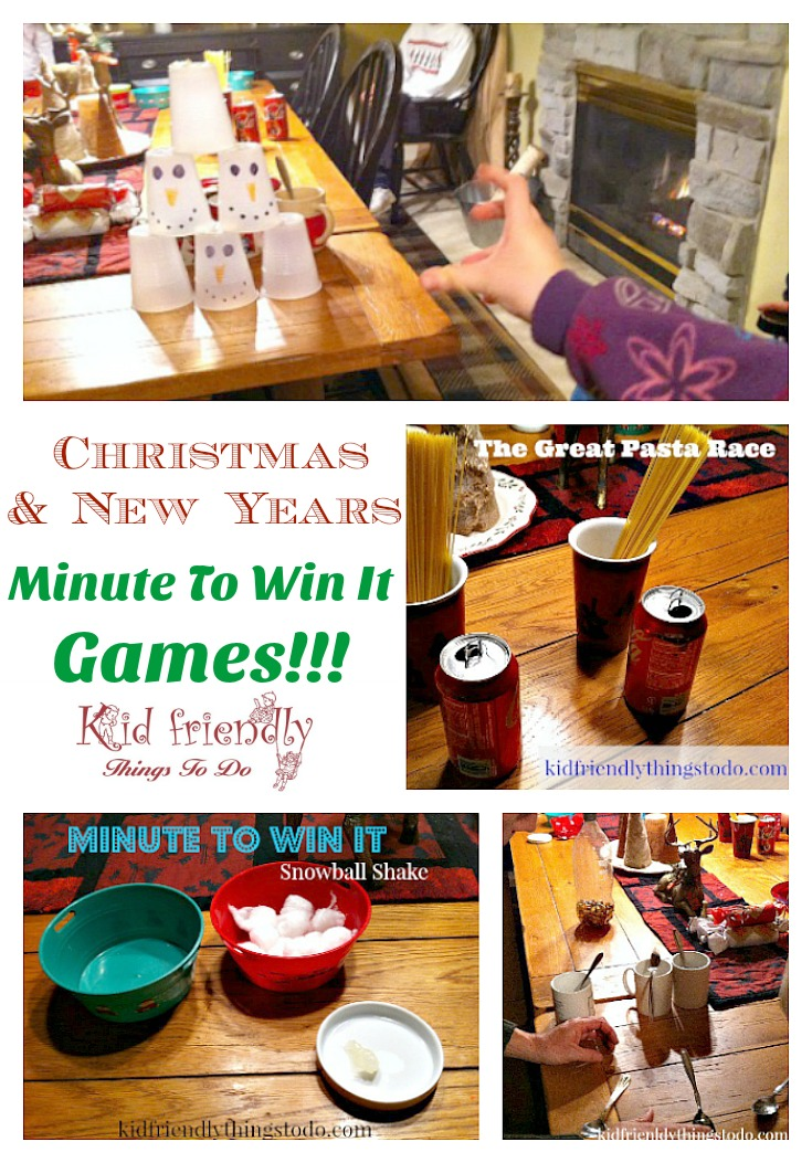 Our Minute To Win It Game Night – With A New Year, & Winter Theme
