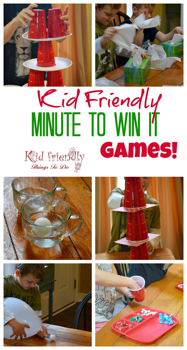 Kid Friendly Easy Minute To Win It Games for Your Party - Simple and fun games for your holiday, school, New Years, or anytime party! www.kidfriendlythingstodo.com