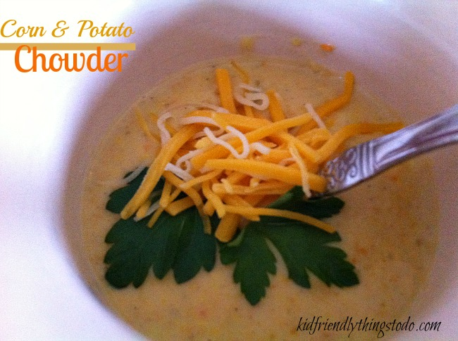 Curry gives this corn and potato chowder it's unique and delicious flavor.