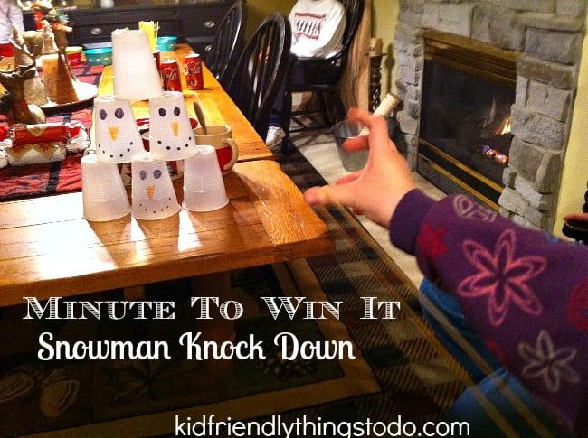 snowman knockdown winter indoor game