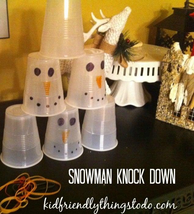 Snowman Knockdown Game for winter fun