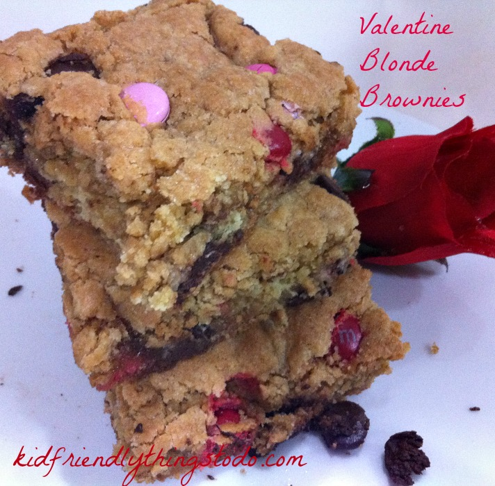 Prepare to pour some tall glasses of milk - or soy! whichever you do! These Valentine Blonde Brownies are like giant chocolate chip cookies!