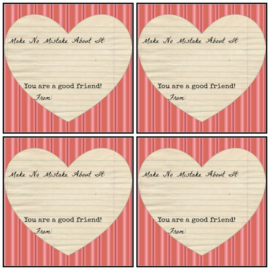 Pair this printable with Valentine Erasers! So cute! Printable is totally FREE!