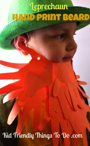 Make A Leprechaun Beard From  Hand Prints – Craft