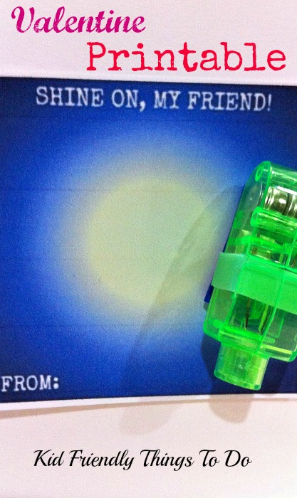 Shine On, My Friend! Pair this Free Valentine Printable with a finger flashlight. (Dollar Tree 4/$1)!!!! Cool enough for boys and girls!