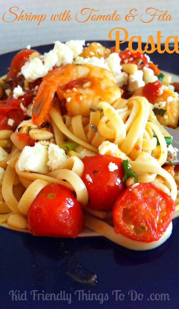 Shrimp with tomato and feta pasta recipe. Oh my!